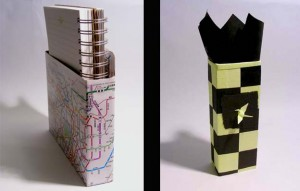 Example of a notebook holder and gift box.