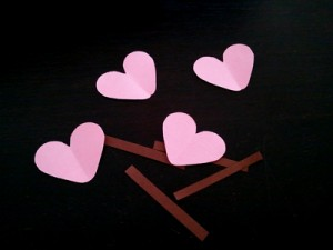 Hearts and sticks from scraps of paper.