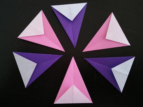 pink and purple origami bunting