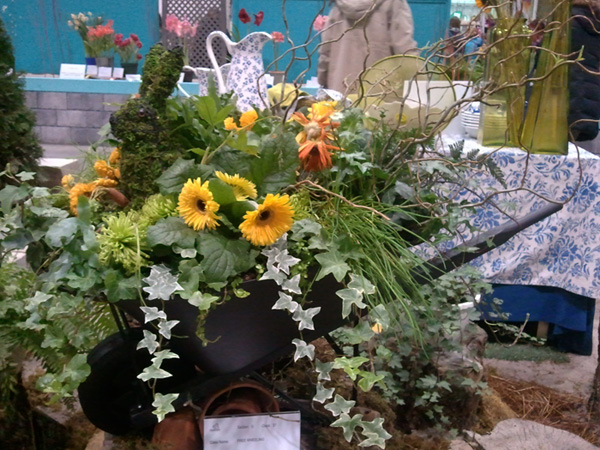 Wheelbarrow flower arrangement