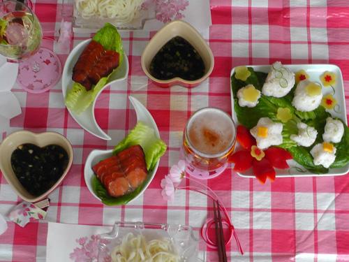Japanese hanami picnic spread